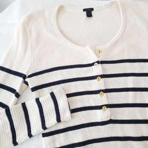J.Crew • Waffle Striped Henley Thermal Top